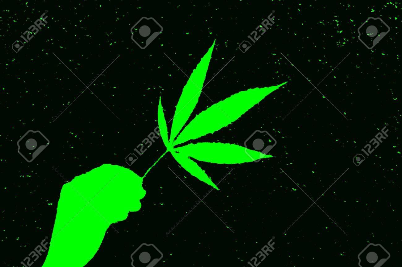 Neon Bright Green Abstract Marijuana Leaf In Hand In Dark Stock