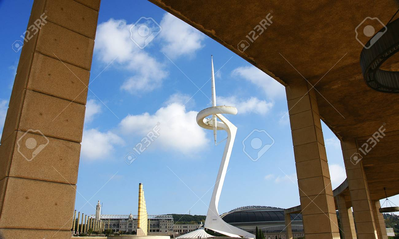 Communications antenna in the gardens of Olympic Ring of Montju? Barcelona Stock Photo - 16558278