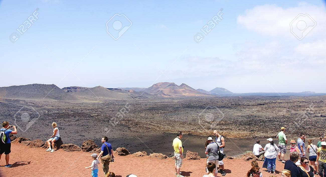 volcanic landscape of Timanfaya National Park, Lanzarote, Canary Islands Stock Photo - 21839187