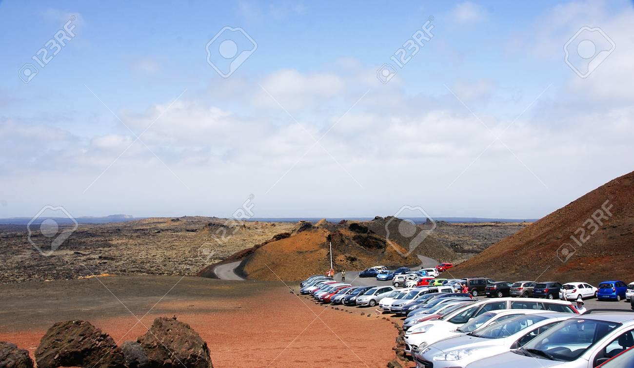 volcanic landscape of Timanfaya National Park, Lanzarote, Canary Islands Stock Photo - 21839189
