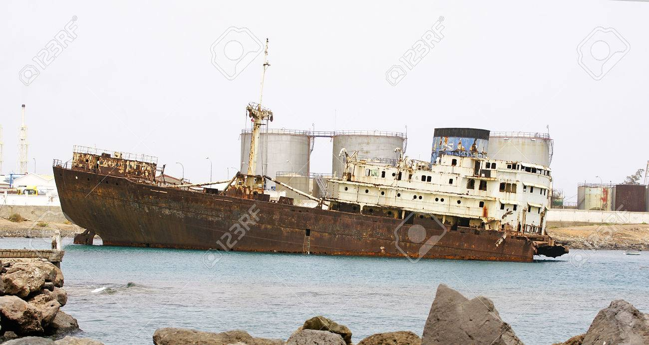 Abandoned Boat in the port of Arrecife, Lanzarote, Canary Islands - 23812908