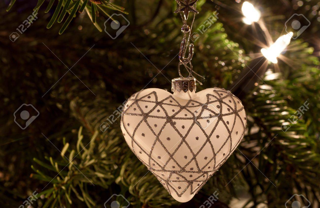 White Heart Shaped Christmas Ornament Stock Photo, Picture And ...