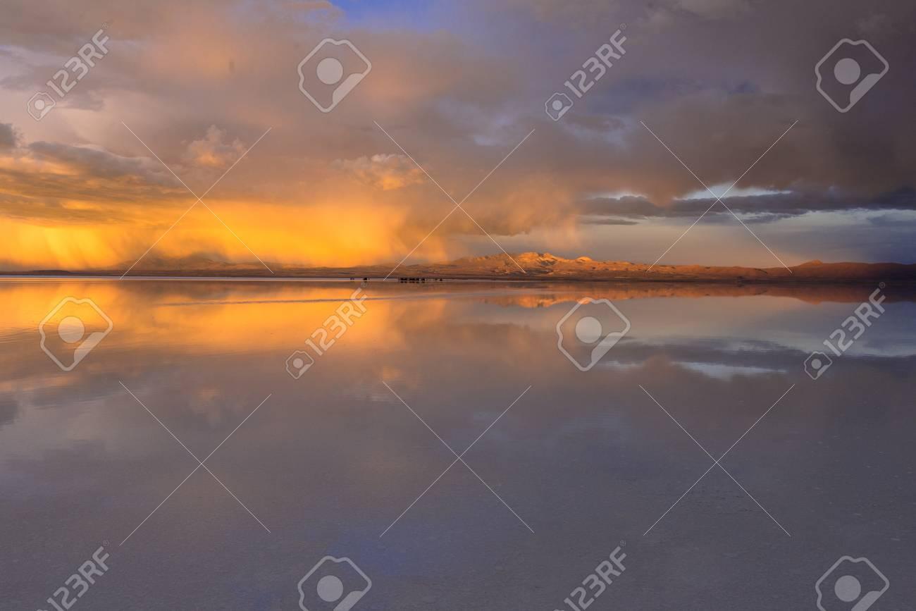 Sunset View Of The Salar De Uyuni Salt Lake