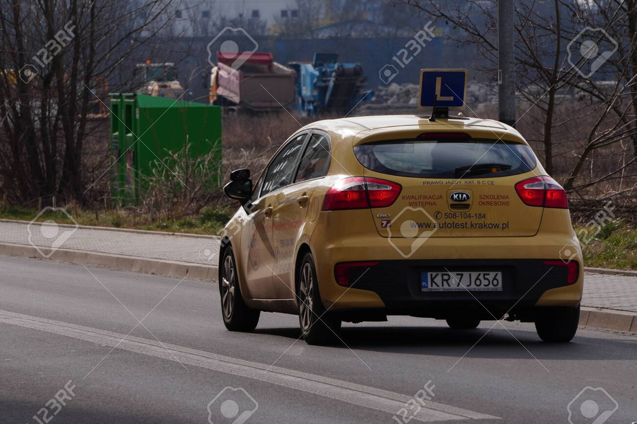 Krakow, Poland 02.15.2020: Training L-signed car's roof on street. Driving license school. - 142975137