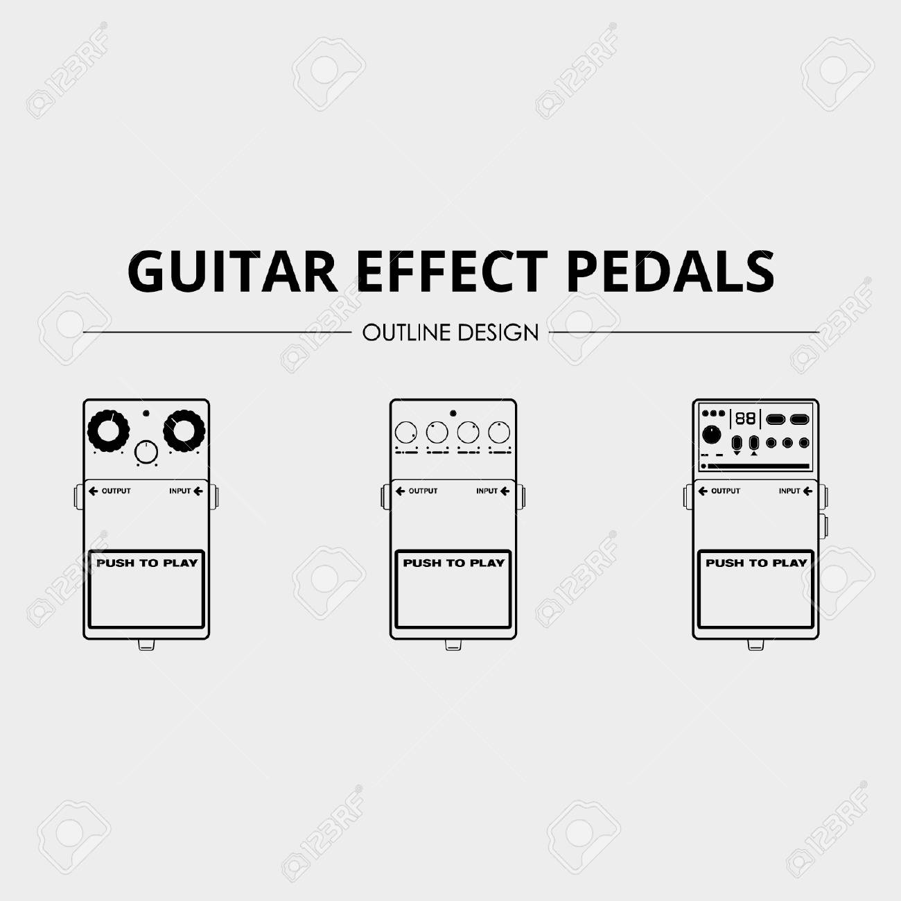 Guitar Effects Pedals - Lineart Vector Pack - 110619551