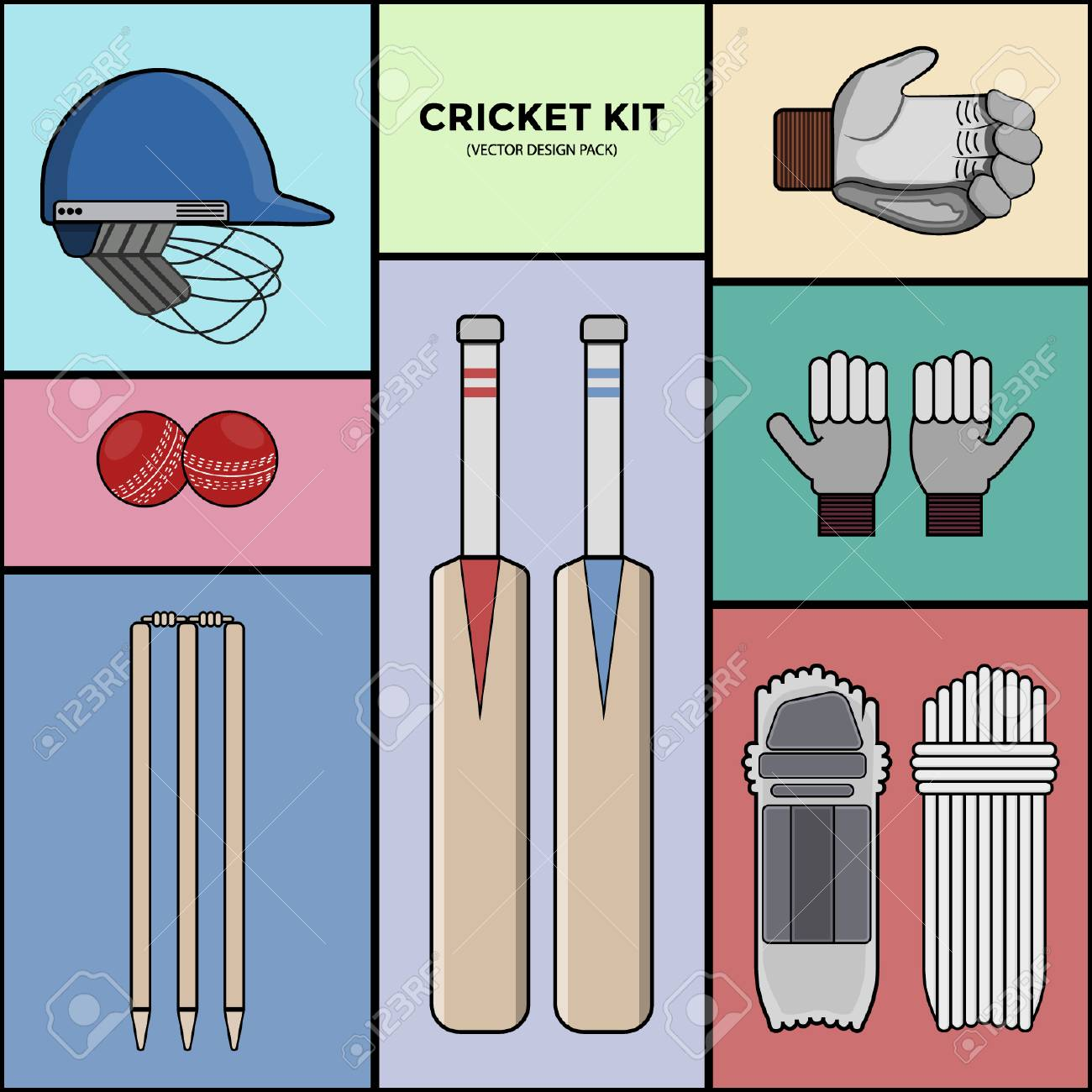 Cricket Kit - Vector Pack - 110628693