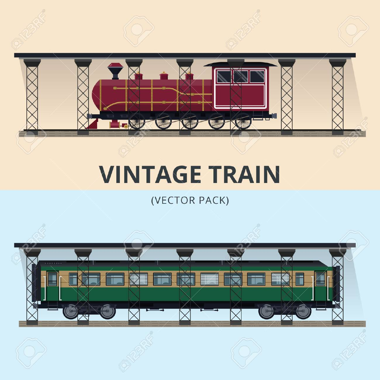 Vintage Train - Vector Design - 110628701
