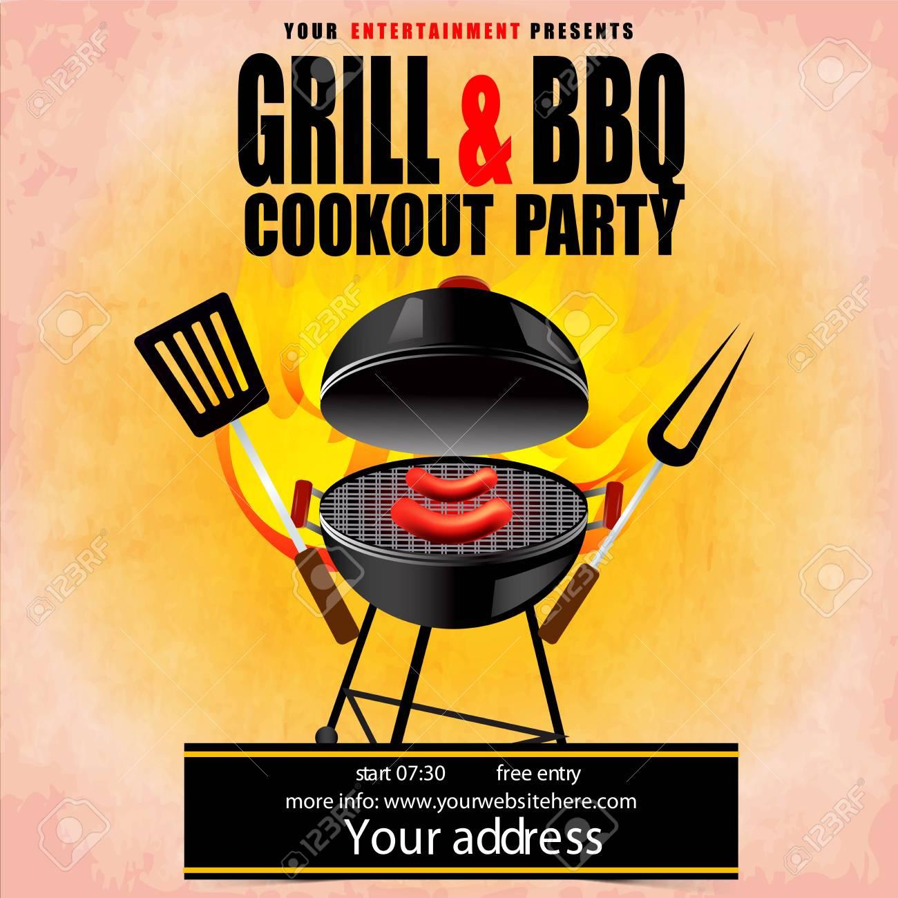 creative vector illustration of barbecue party design invitation