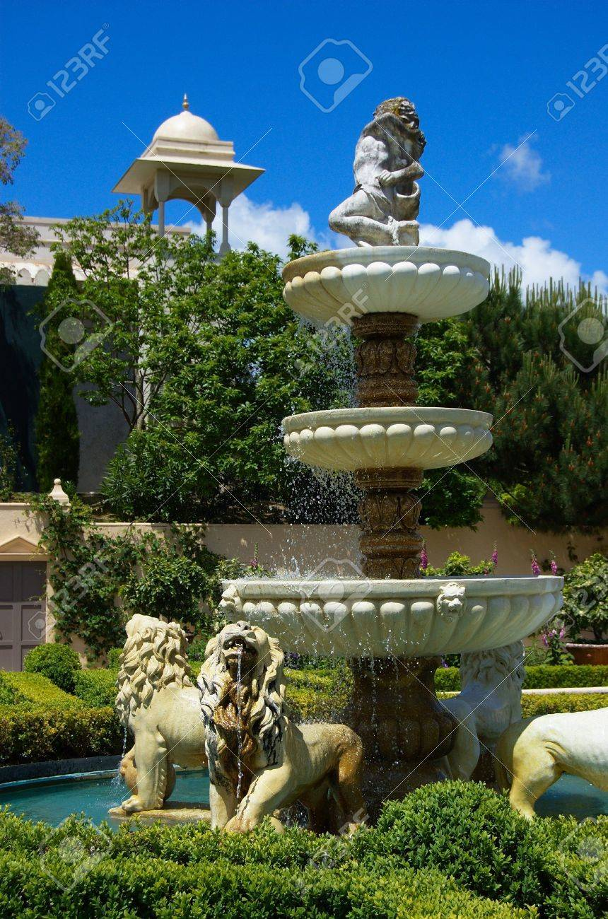 Water fountains outdoor new zealand - Elaborate Fountain With Multiple Cascades And Statues Of Lions Italian Renaissance Garden Paradise Garden