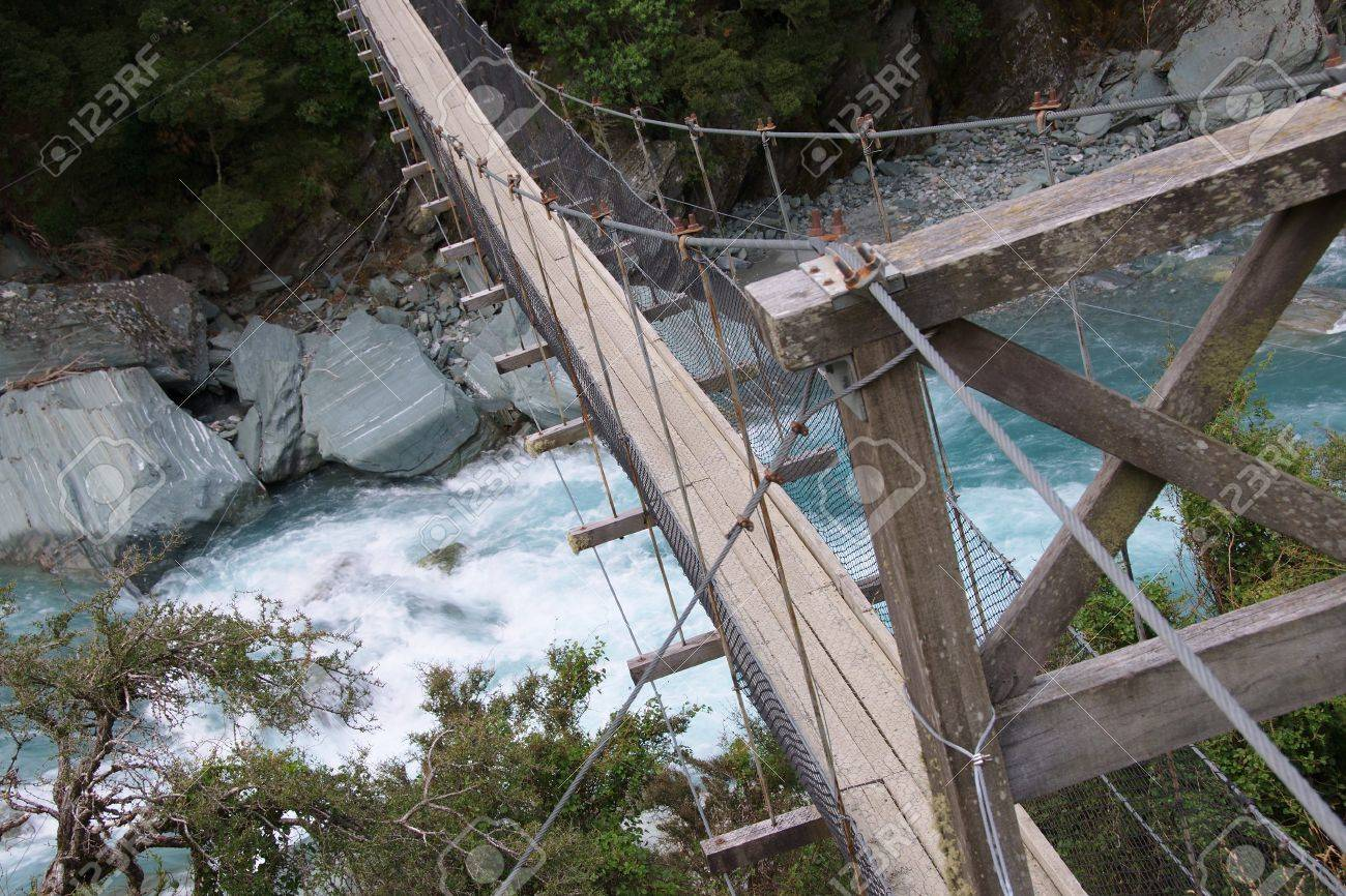 detail of wire bridge over matukituki river rapids by rob roy