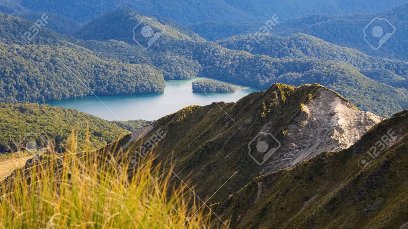 Island Lake From Tops North Of Green Lake Fiordland National