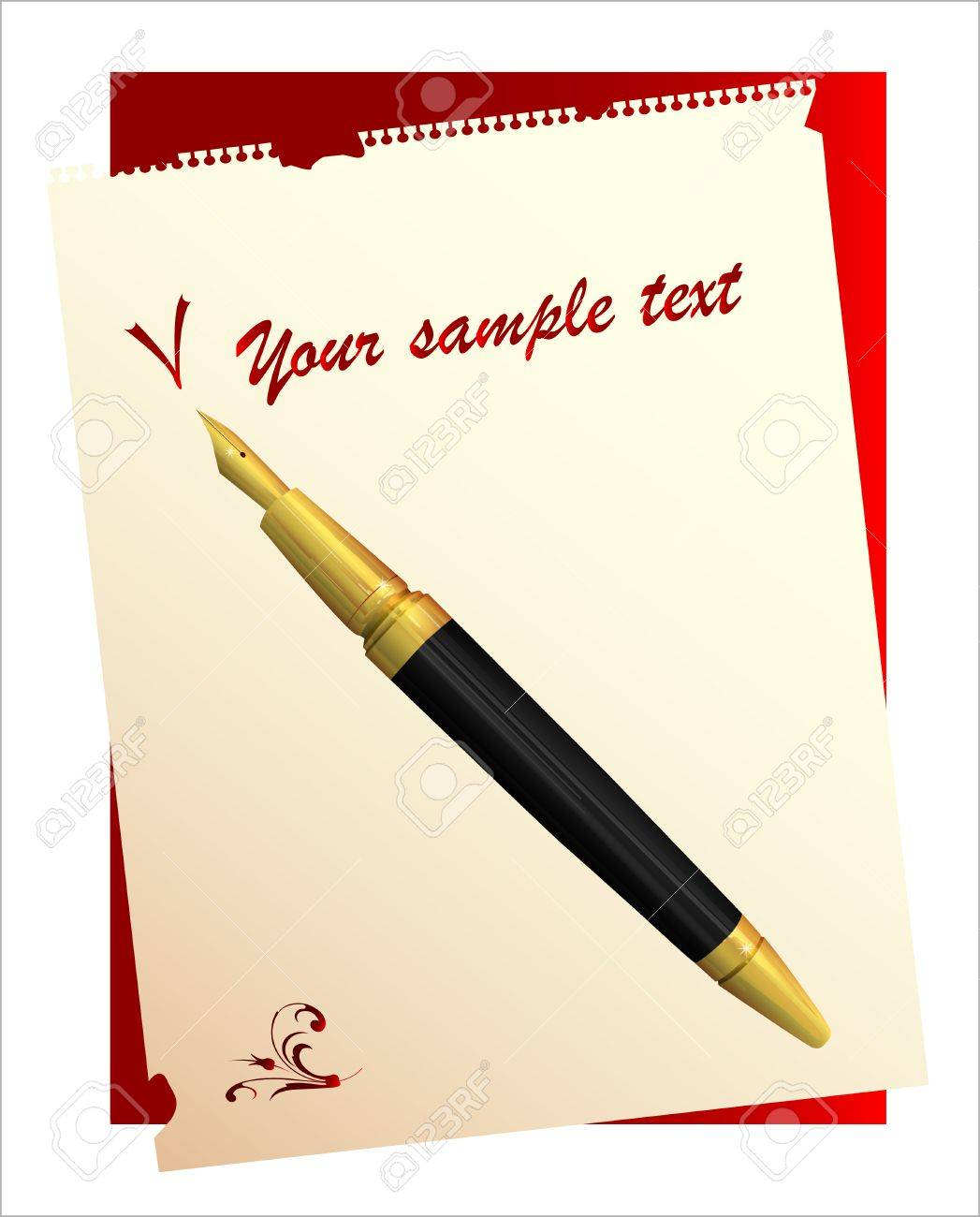 vintage pen and paper Stock Vector - 6630300