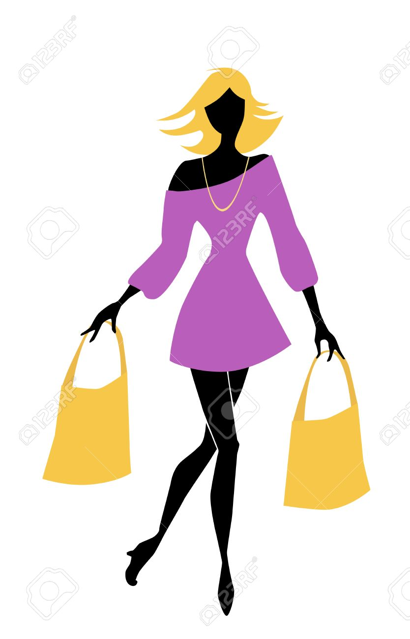 fashion shopping girl with bags Stock Vector - 8506891