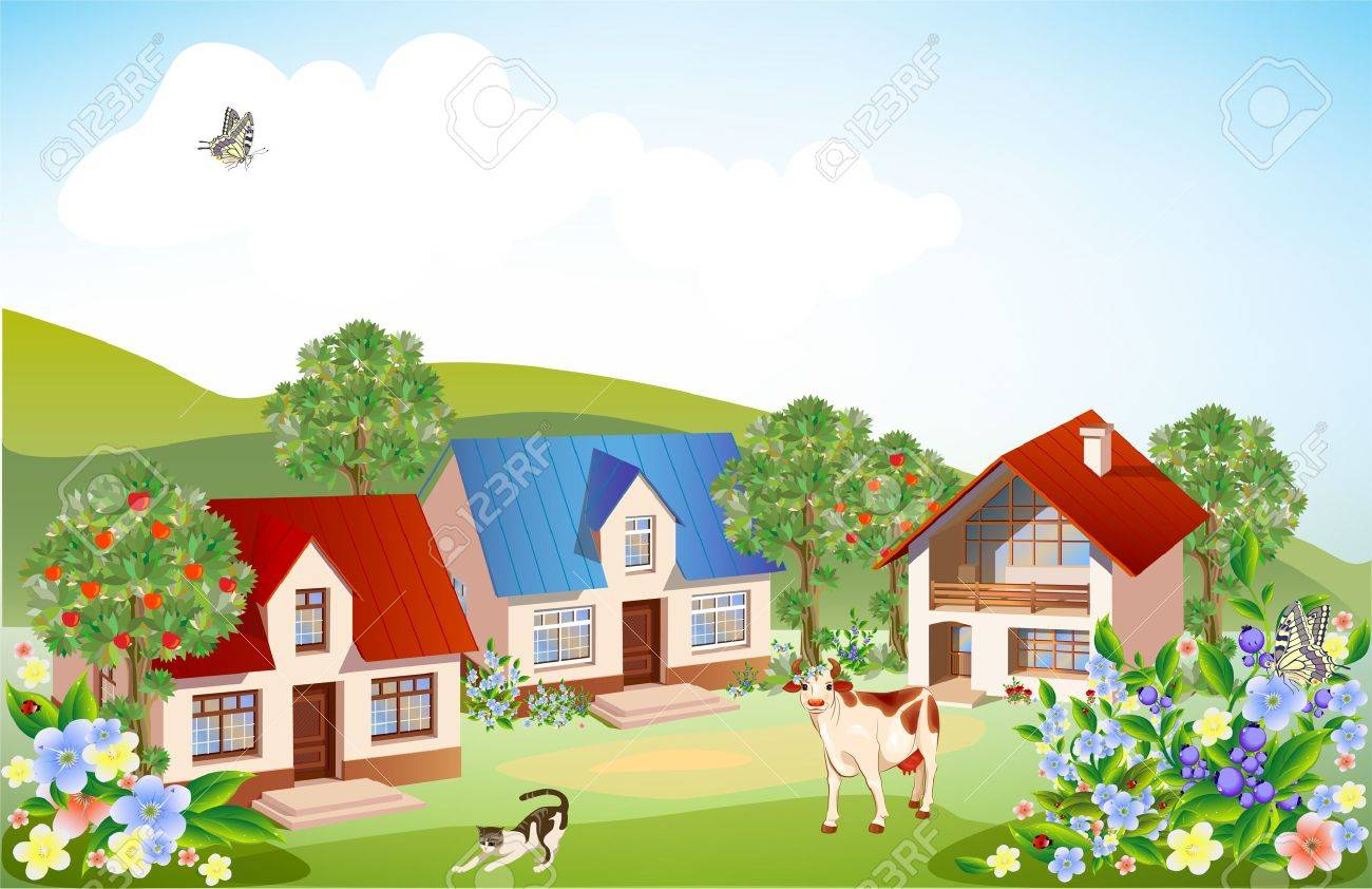 summer rural landscape Stock Vector - 9444122