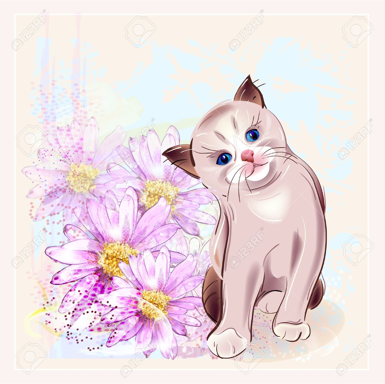 Birthday Card With Thai Kitten And Gerberas Stock Vector