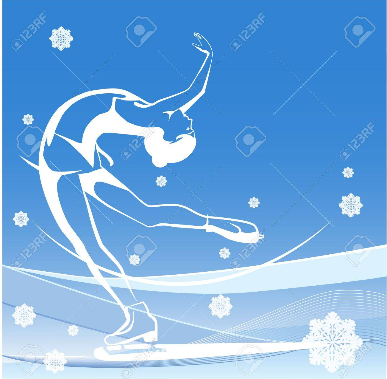 Winter sport. Ladies figure skating.  Ice show. Stock Vector - 10721117