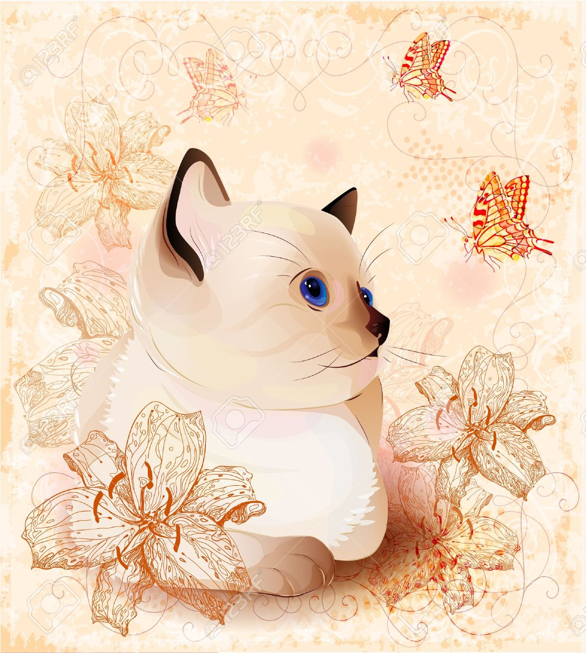 Vintage birthday card with little siamese  kitten and  flowers Stock Vector - 10926526