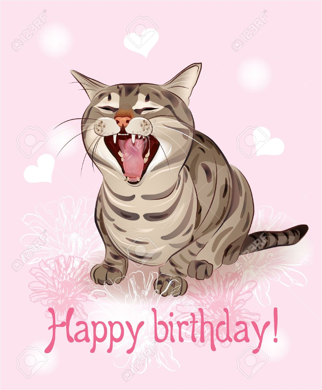 Happy Birthday Card Funny Cat Sings Greeting Song Pink Background With Hearts And Flowers