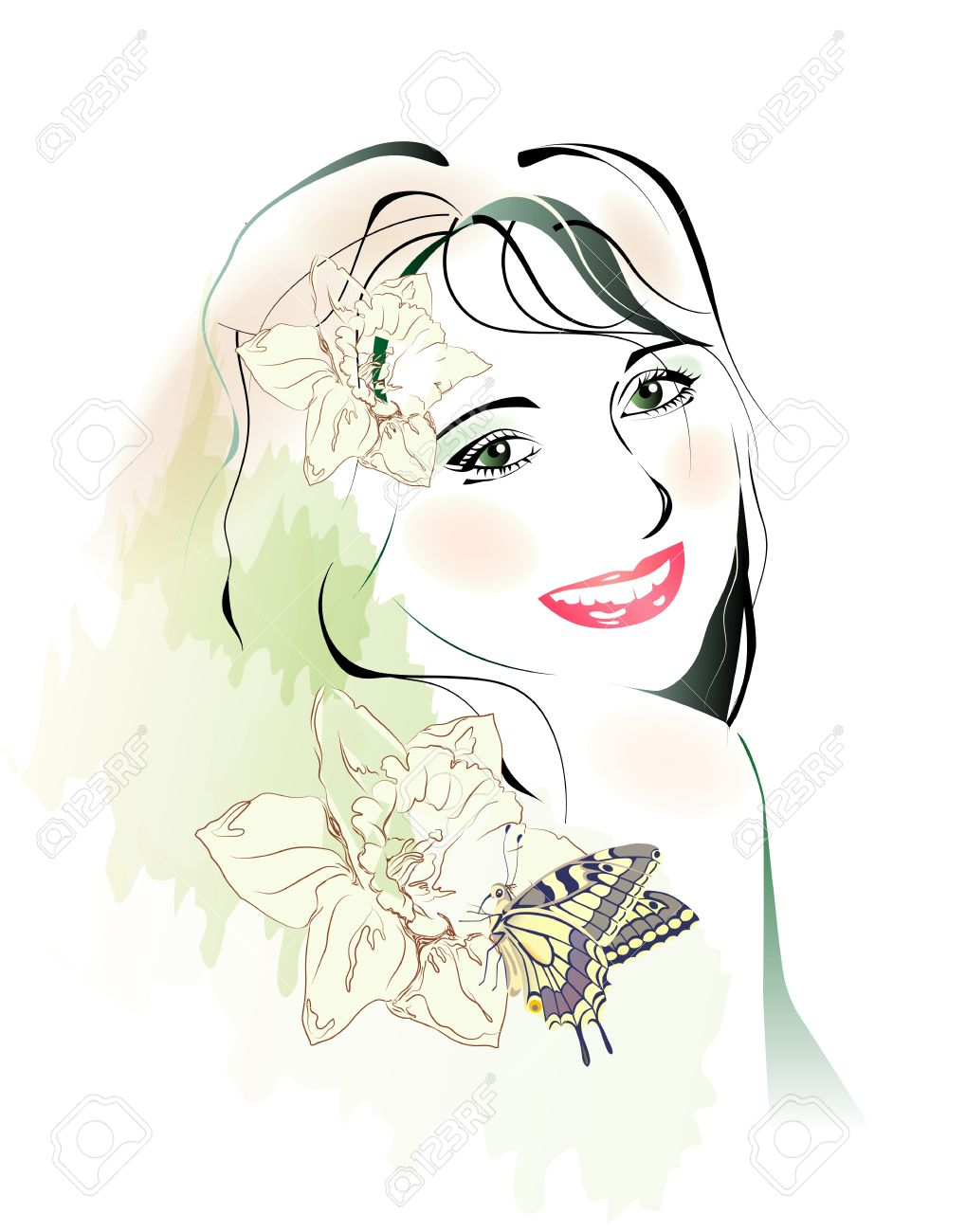 watercolor portrait of young girl with flowers and butterfly Stock Vector - 10972078