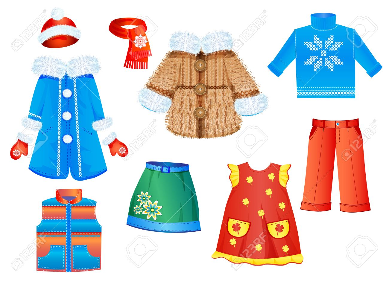 5a903b4f3bbf Set Of Seasonal Clothes For Girls Royalty Free Cliparts