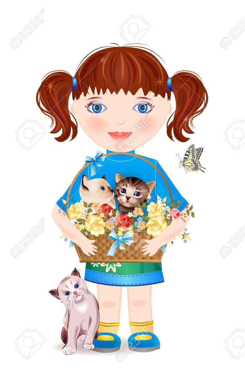 little girl with funny kittens Stock Vector - 12496337