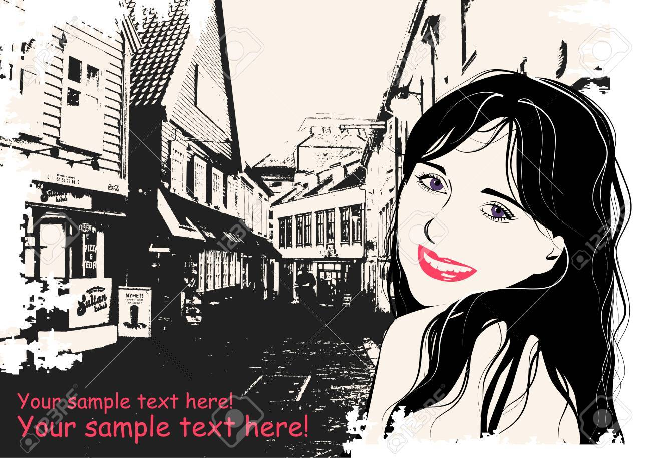 fashion girl in sketch style on a  Scandinavian city-background Stock Vector - 13568043