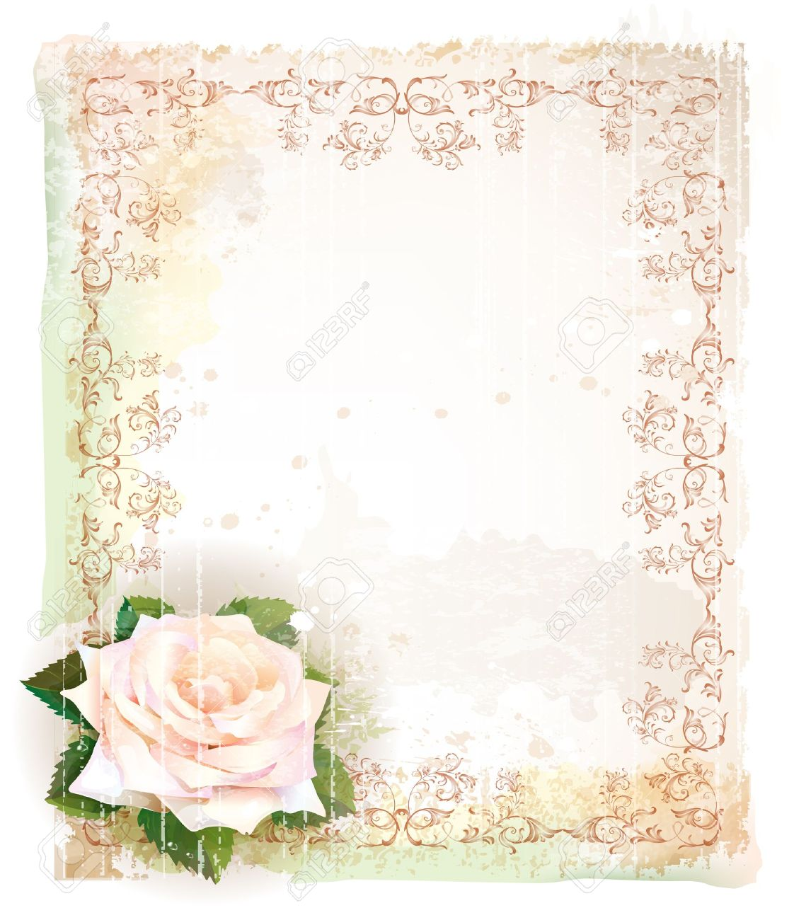 Vintage frame  with rose  Imitation of watercolor painting Stock Vector - 14202500