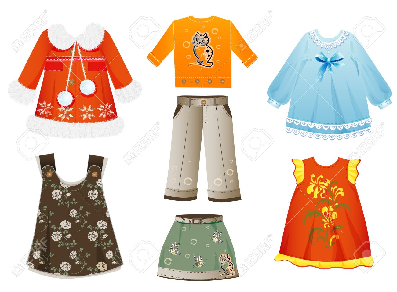 set of seasonal clothes for girls Stock Vector - 14544466