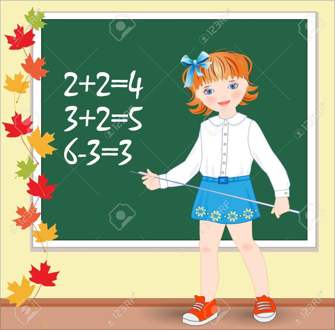 Back to school.  Schoolgirl on the lesson of mathematics. Stock Vector - 14993480