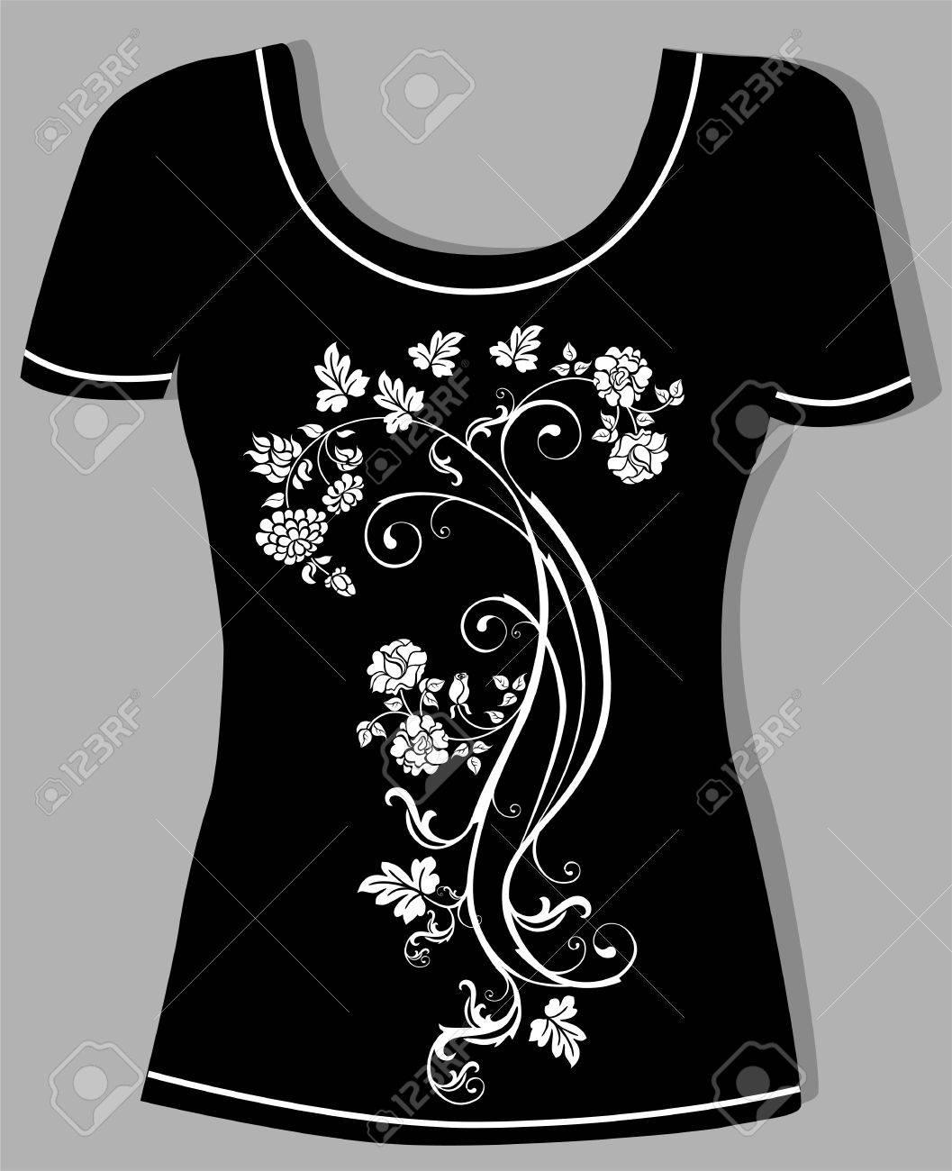 Shirt design vintage - Vector T Shirt Design With Vintage Floral Element
