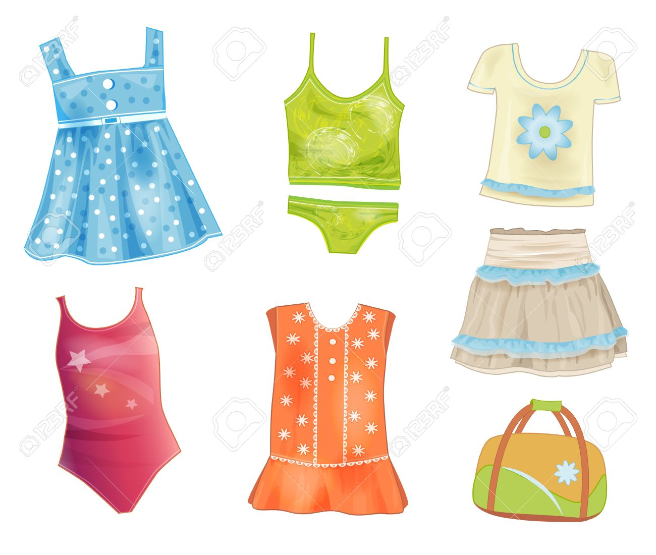 Foto de archivo , conjunto de ropa de verano para niñas