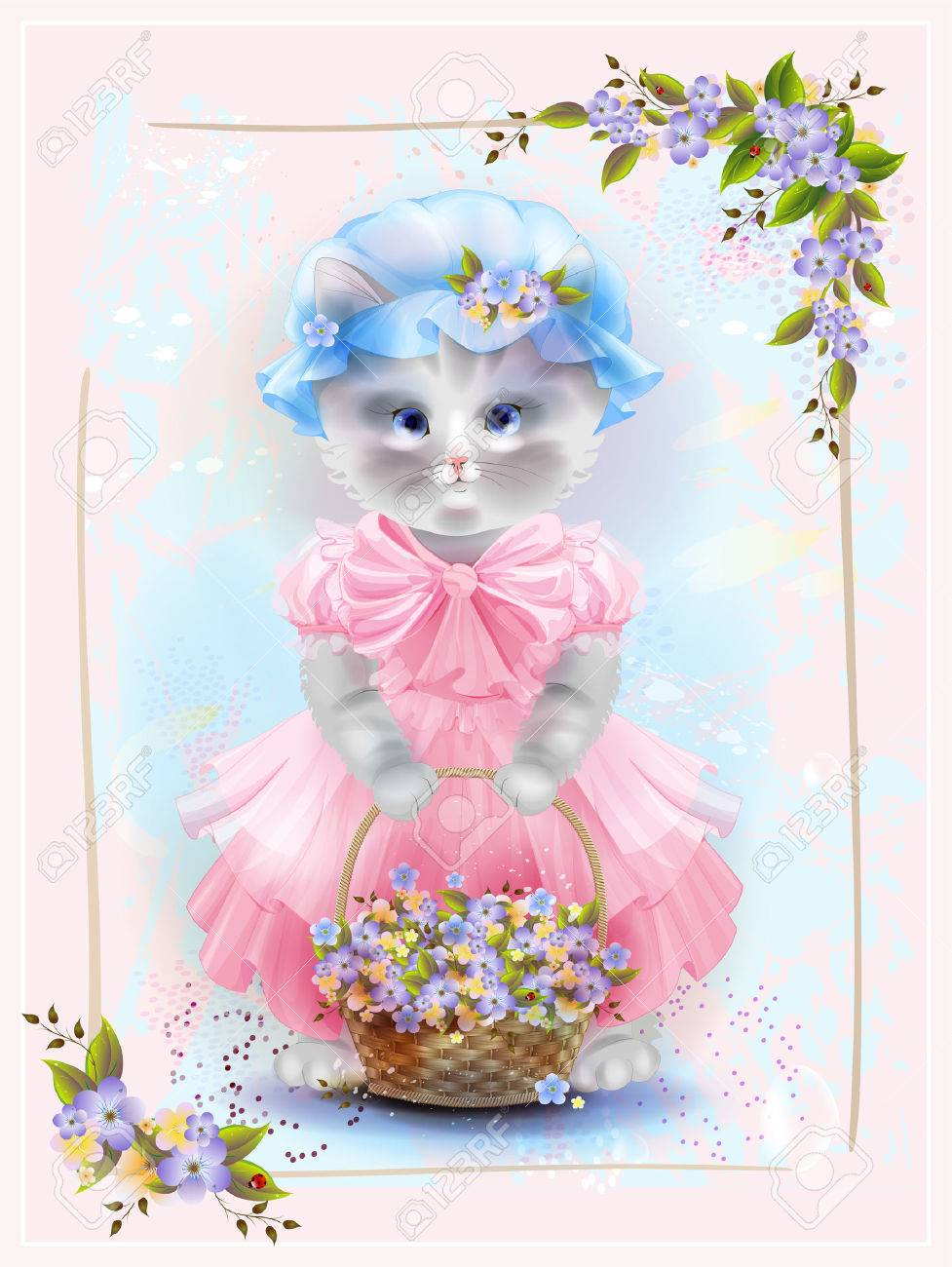 The Portrait Of Full VioletsBirthday Vintage With Basket Cat AqS4RjcL35