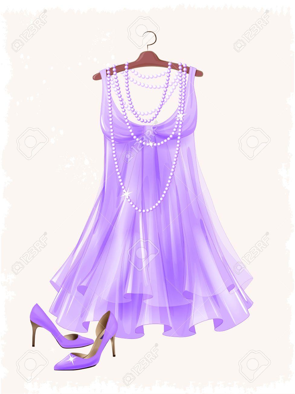 73753434 Vestido De Seda Color Lila De La Vendimia Y Los Zapatos De Tacón Alto.  Vestir Y Calzado Para La Fiesta. Para Mujer Festivas Vestimenta Y  Accesorios.