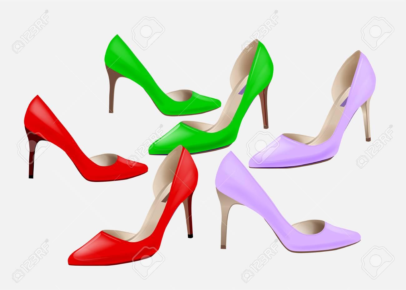 57ea0cd1 Moda Para Mujer De Los Zapatos De Tacón Alto De Colores. Conjunto De Zapatos  De Tacón Alto. Chicas Elegantes Calzado. Zapatos De Tacón Alto Elegantes  Para ...