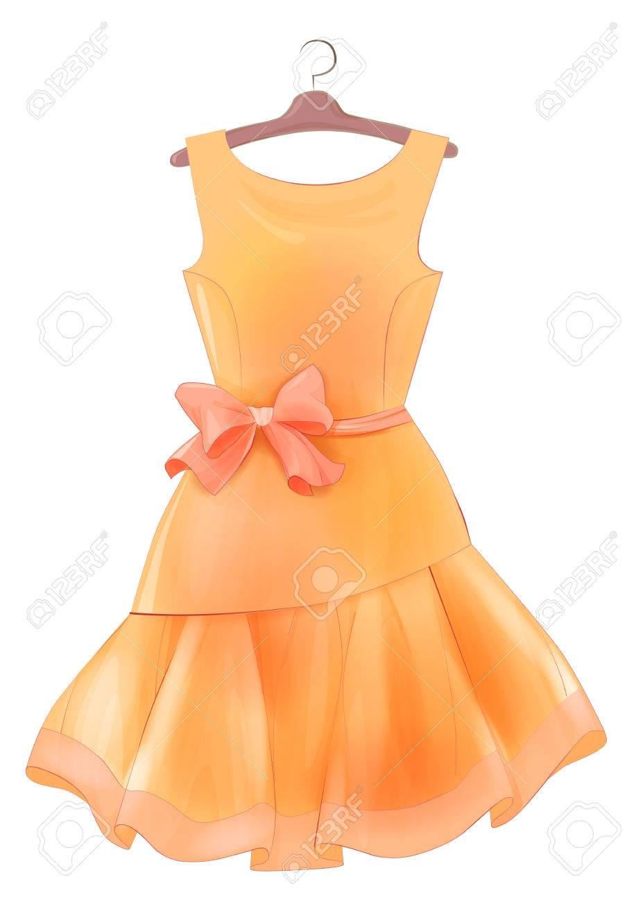 Weinlese-orange Seidenkleid Mit Rosa Schleife. Outfit Für Die Partei ...