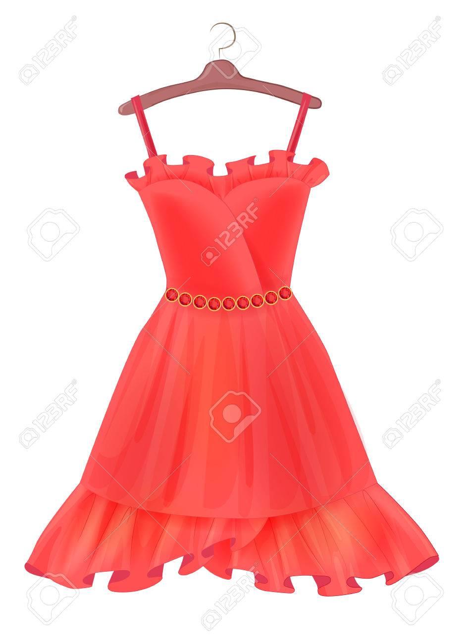 Rotes Kleid. Outfit Für Die Partei. Festliche Frauen Kleidung ...