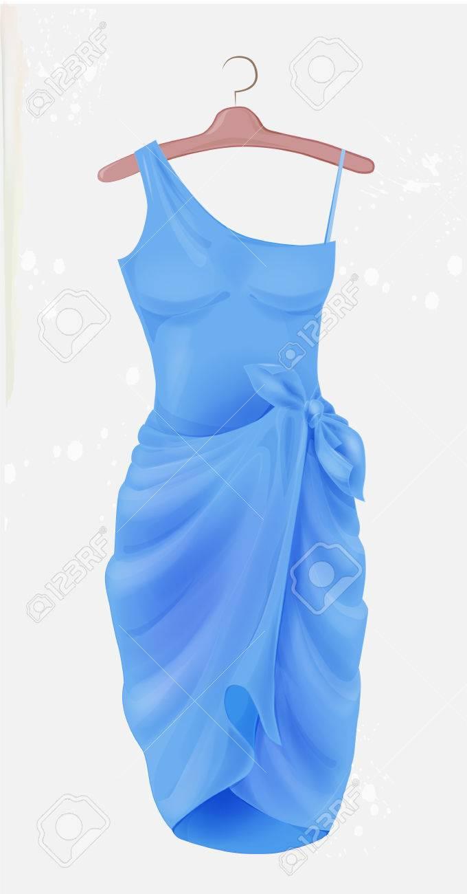 Blaues Kleid. Outfit Für Die Partei. Festliche Frauen Kleidung ...
