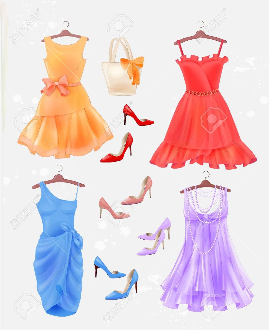 Set Von Kleidern, Tasche Und Schuhe Mit Hohen Absätzen. Kleider Und ...