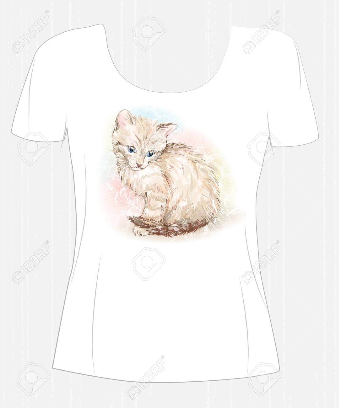 T Shirt Design With Cute Kitten And Flower Design For Womens