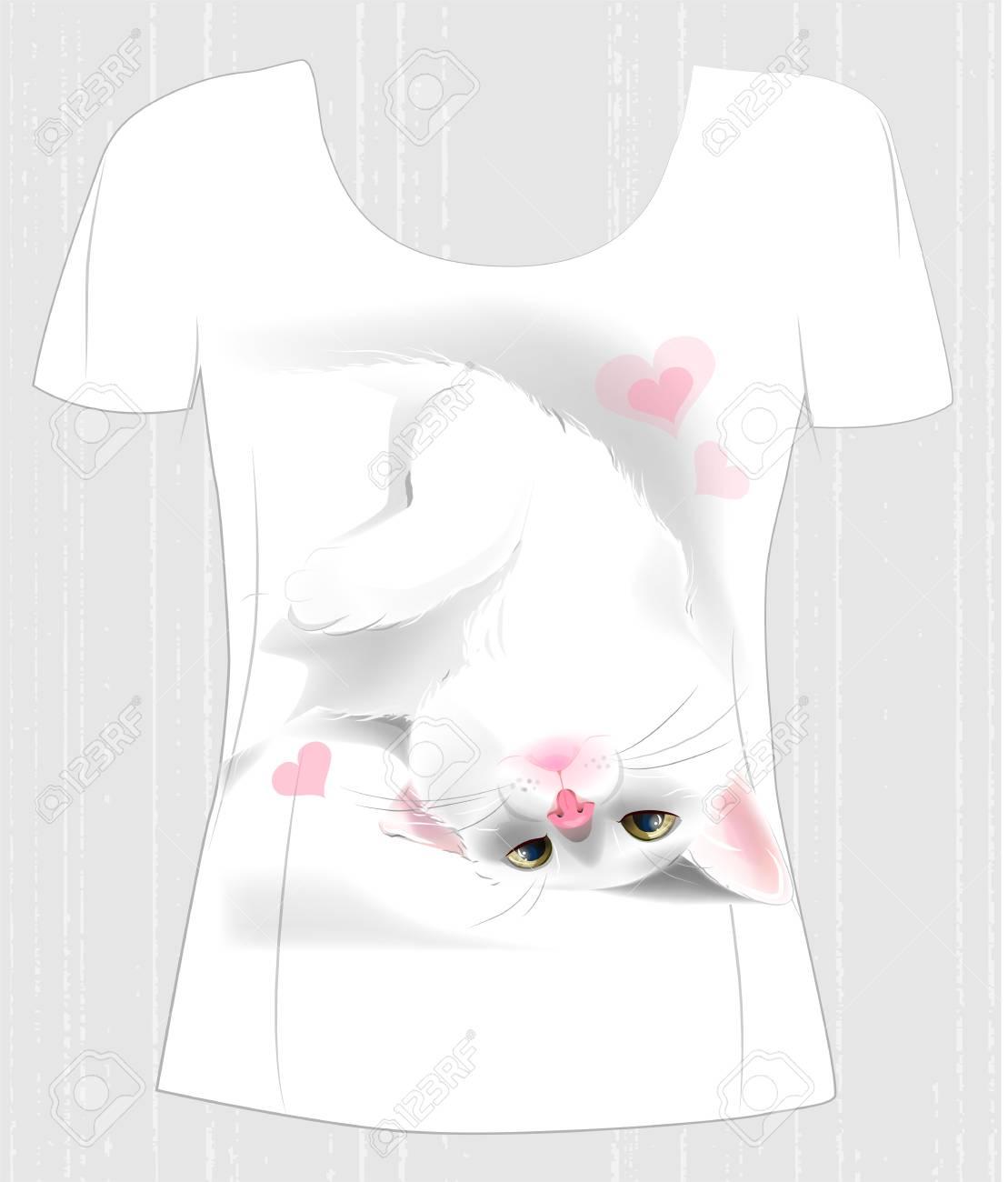 primer nivel online aquí moda de lujo Diseño de camiseta con lúdico gato blanco y corazones. Diseño para camiseta  de mujer. Presente para el día de San Valentín