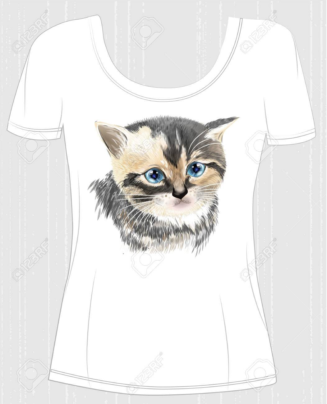 T Shirt Design With Face Of Three Colored Cute Kitten Design