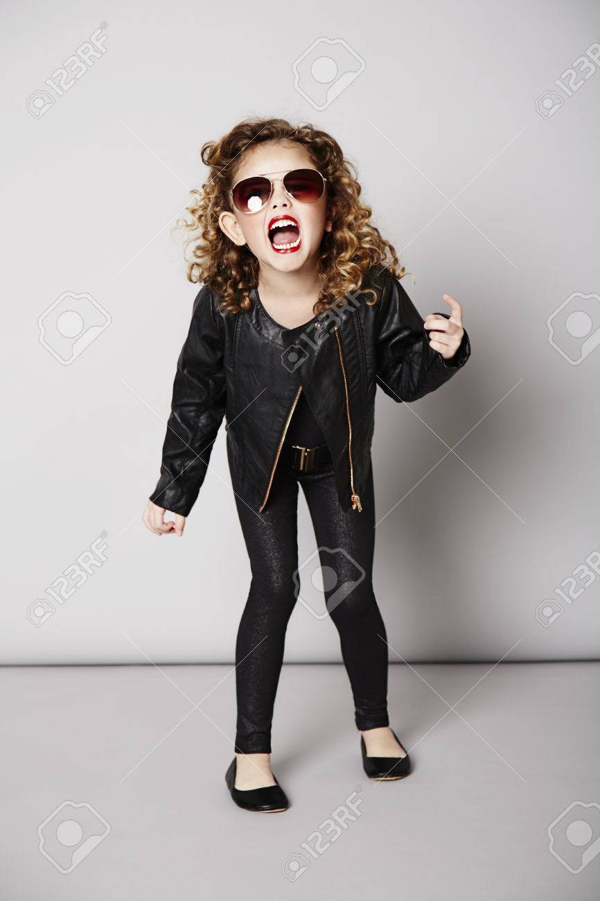 Cool Girl In Leather Jacket With Attitude Stock Photo Picture And