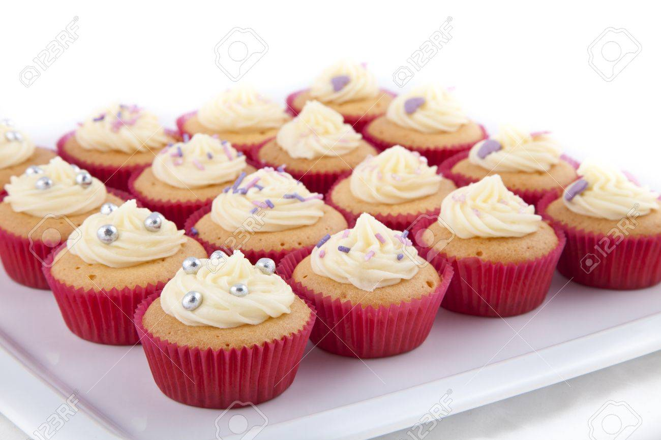 Delicious Homemade Decorated Cupcakes With Vanilla Topping Stock