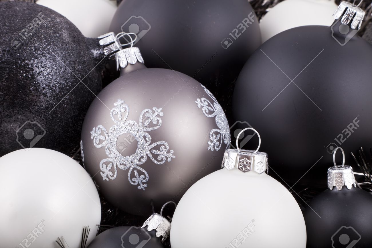 black white and taupe coloured christmas decorations ornaments stock photo 10300018