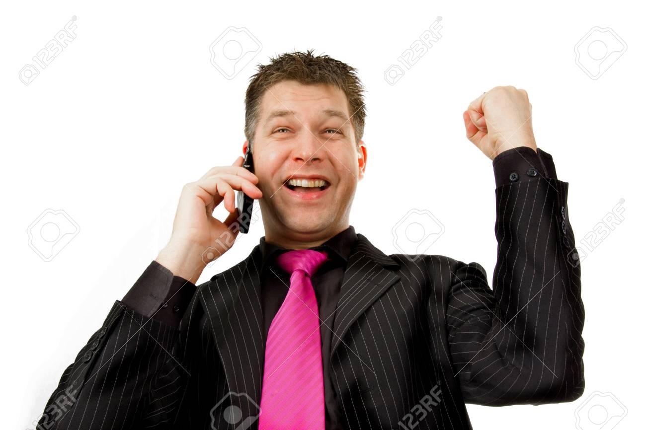 Happy businessman on the phone Stock Photo - 4963184