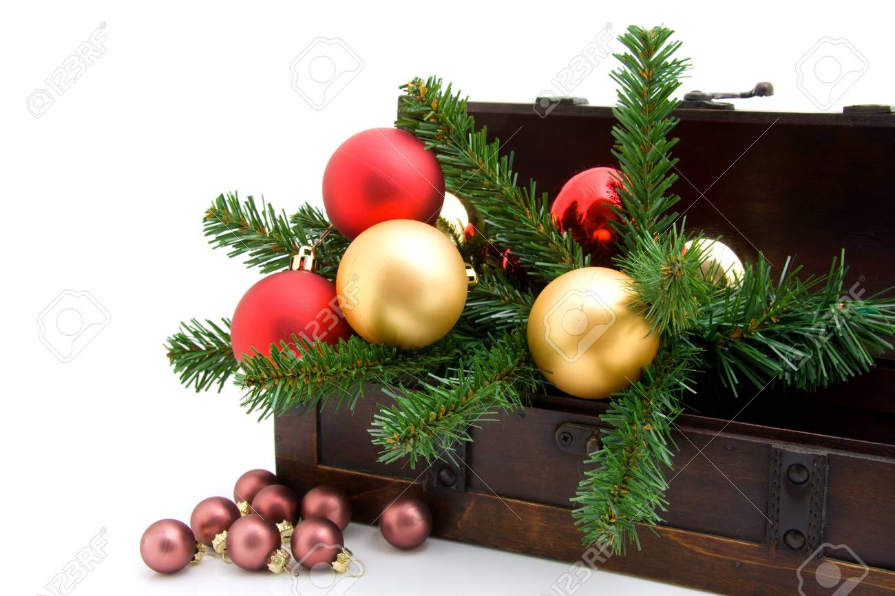 wooden box with christmas decoration over white background - 6045882