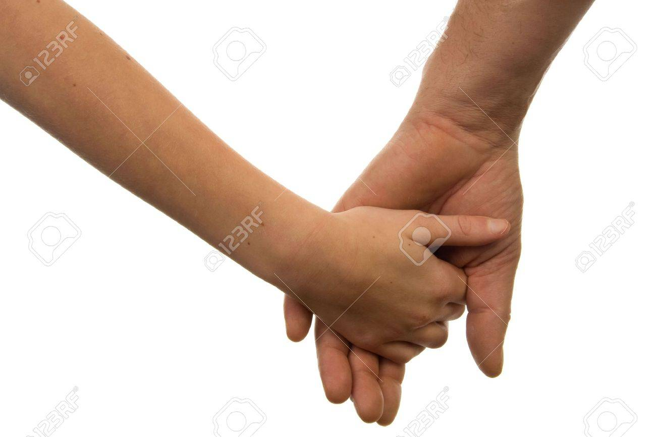 Father and daughter holding hands over white background Stock Photo - 6085801
