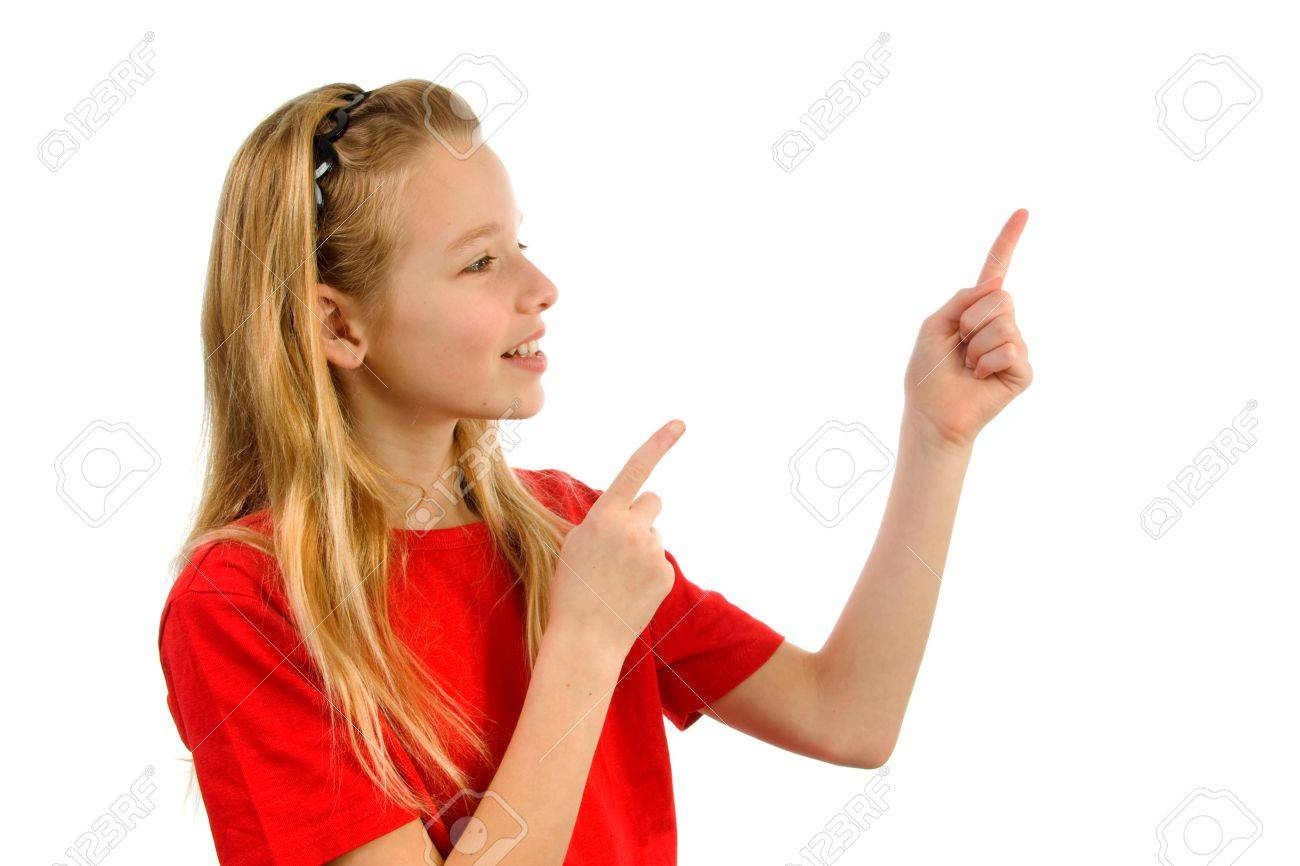 Young blonde girl points to something. Isolated on white background Stock Photo - 6607388