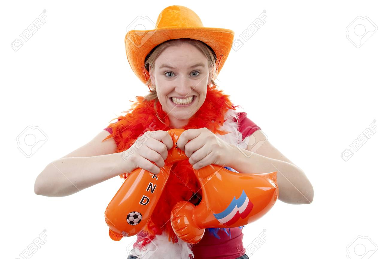 Dutch female soccer fan is angry, they lost the game, over white background Stock Photo - 6839618
