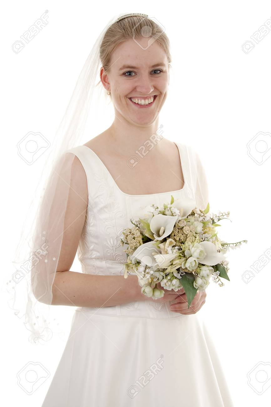 Young beautiful bride is posing over white background Stock Photo - 6996212